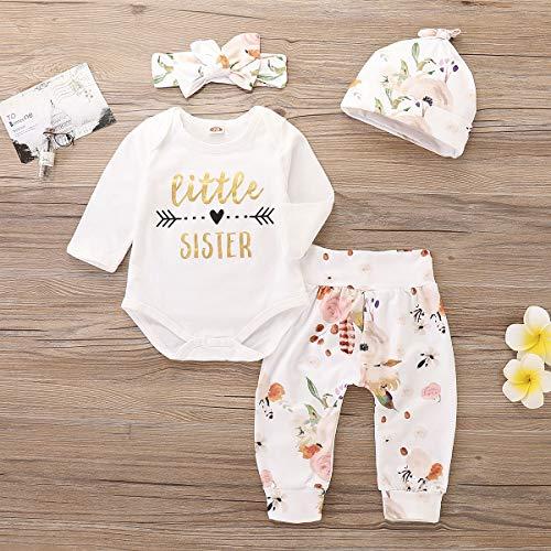 7860c85763d8e Pant Sets – 4Pcs Infant Girl Outfits Baby Sister Bodysuit Tops Floral Leggings  Pants Set Bowknot Headbands Newborn Pajamas Clothes