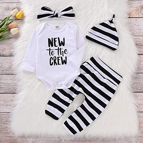 93046d9f07b2 Pant Sets – Baby Girl Clothes Set New to The Crew Print Long Sleeve Romper  + Striped Pants+Hat+ Headband 4pcs Outfits (0-6 Months, A)