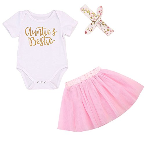 Headband Clothes Set White, 3-6 Months HappyMA 3Pcs Baby Girls Tutu Dress Outfit 1st Birthday Short Sleeve Romper Top Lace Skirt