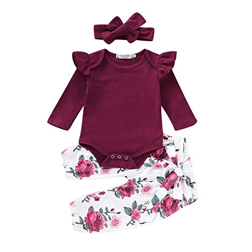 3PCS Infant Baby Girl Kid Floral Long Sleeve Dress Top Pants Headband Outfit Set