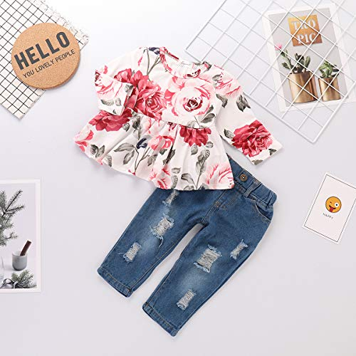 f6344567b192 Pant Sets – Toddler Baby Girls Clothes 2Pcs Flower Ruffle T-Shirt+ Ripped  Jeans Denim Pants Outfits Sets(12-18 Months)