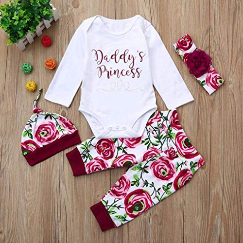 Newborn Baby Girls Letter Floral Print Romper Pants+Headband Set Outfits Clothes