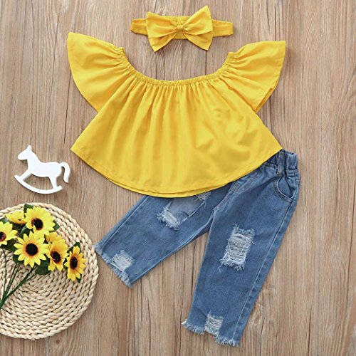 Newborn Kid Baby Girls Off Shoulder Tops Denim Pants Hole Jeans Headband Outfits