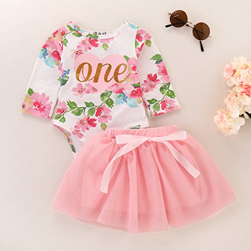 Baby Girls 1st Birthday Tutu Dress Sleeveless Floral Romper Top Lace Skirt Clothes Easter Outfit 2Pcs