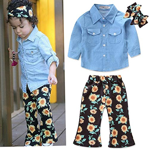 3pcs Toddler Baby Girl Outfits Headband+Top T-shirt+Jeans Pants Clothes Set