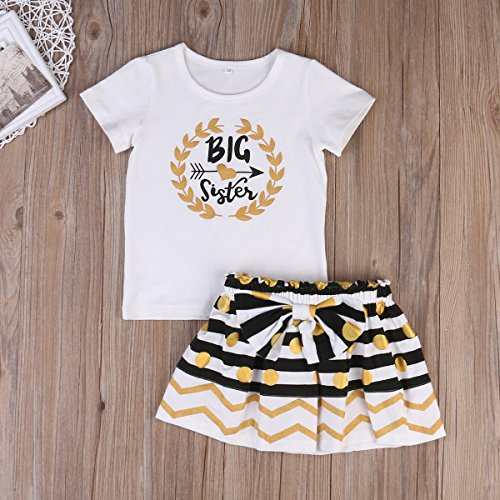 bd2d55d197a66 Skirt Sets – Baby Girl Big &Little Sister Bodysuit Tops Bowknot Striped  Skirts Dress Set (6-7 Years, Big Sister) Offers