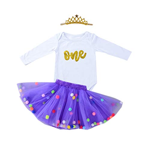 10c2b1be82b0 Right now you are looking at considered one of our submit concerning Baby  Girls 1st Birthday Outfit Glitter One Romper Balls Skirt Crown Headband ...