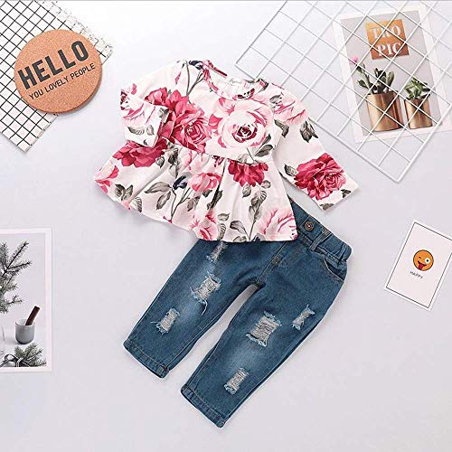 48300ebb4cec7 Pant Sets – Cenhope Baby Girls Flower Clothes Ruffle Long Sleeve T-Shirt + Ripped  Jeans Denim Pants Set (Pink, 9-12M) Offers