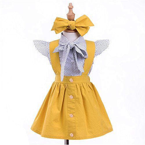 Suspender Braces Skirt Overalls Clothes Sets Kids Baby Girl 2pcs Outfits Dot Ruffles Sleeve Shirt Top
