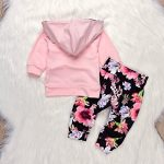 448f77d1226c0 The Lovely Baby Girls Outfit Winter Floral Hoodie with Pocket Flower Long  Pants Set Leggings 2pcs (0-3M, Floral) Price :