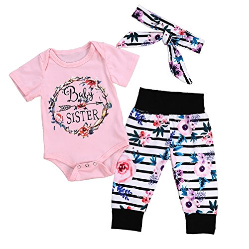 Floral Bowknot Pants Outfit Set Summer Clothes Kids Baby Girls Sleeveless Tops