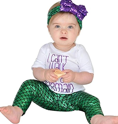 Newborn Baby Girls Mermaid Tops+Shorts Pants+Headbands Outfits 3PCS Set Clothes