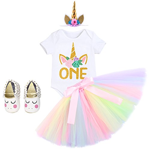 97ac7a93f742a Skirt Sets – Newborn Baby Girls 1st Birthday Clothes Set Cake Smash Floral  Romper Skirt with Unicorn Headband Shoes 4PCS Outfits White