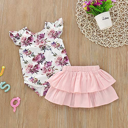YOUNGER TREE 2PCS Newborn Baby Girl Off Shoulder Flower Romper+Leg Warmers Outfits Clothes