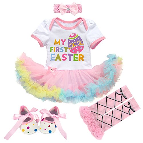 Shoes 3pcs Clothes Sets Baby Girls Easter Romper Dress Outfits with Headband