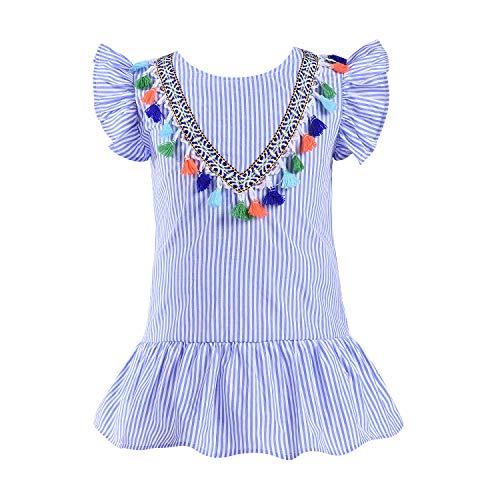 Newborn Baby Girls Summer Sleeveless Dress Tassels Vest White Mini Beach Dresses