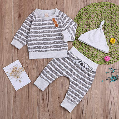 e1afbc2299f4 Newborn Infant Baby Boy Girl Cotton Outfit Long Sleeve Romper Pants Hat 3PC  Set Take Home Clothes (Gray Stripe, 0-3 Months) Pictures 1