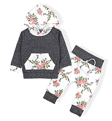 Floral Pant Set Leggings 2 Piece Outfits 6M-3Y Baby Girls Floral Hoodie