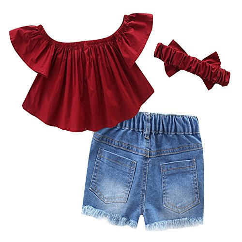 bf760b80f329 Short Sets – Scfcloth Little Girls Kids Off Shoulder Tops + Holes Jeans  Shorts + Headband Clothing Set Outfits (Red, 6-7 Years) Offers