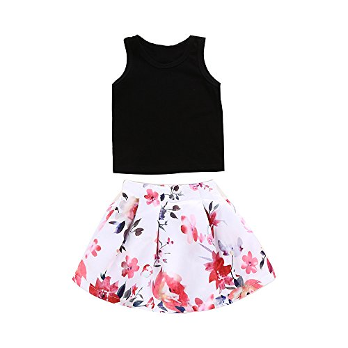 c01c2892e9bc Sunbona 2pcs Toddler Baby Girls Sleeveless T Shirt Tops+Floral Skirt Dress  Summer Princess Casual Party Outfit Clothes (Black, 3T(2~3years)) Picture 1
