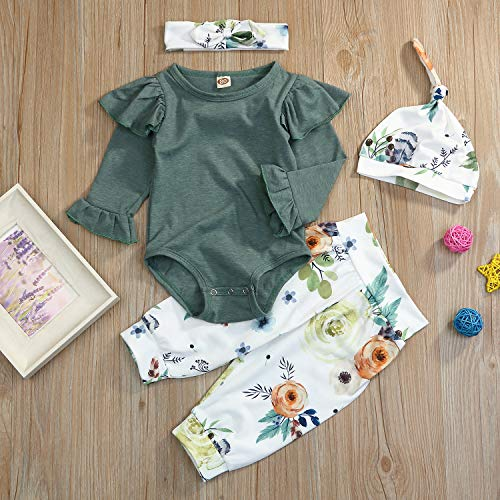 71c72e16696 Pant Sets – Toddler Baby Girls Fall Outfit Long Sleeve Ruffle Green Romper+Floral  Pants+Headband+Hat Clothes Set 4Pcs (Green