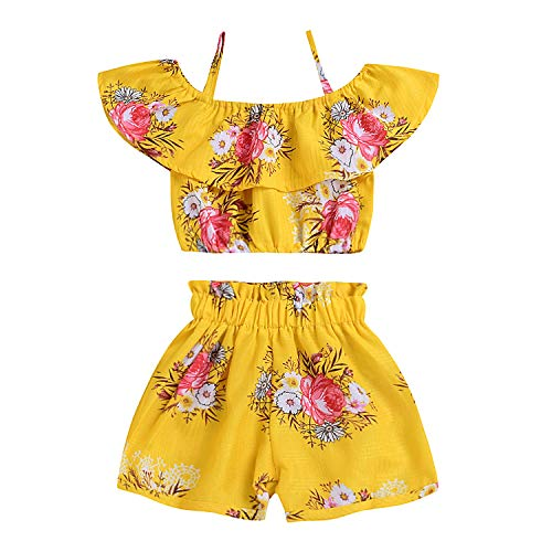 Outfits for Toddler Girls Clothes Sets 2 Pcs T-Shirt Floral Pant Toddler Girls Rompers and Jumpsuits