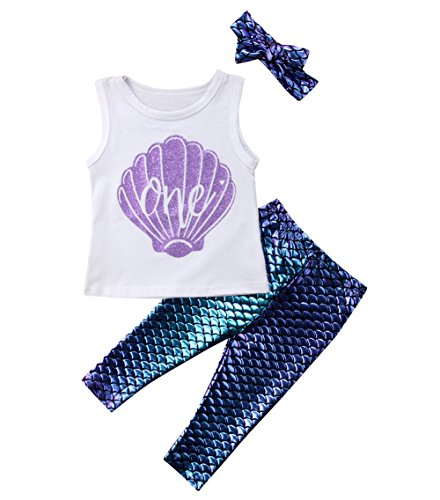 3Pcs Toddler Baby Girl Mermaid Outfit,Summer Short Sleeve Romper Bodysuit+Fish Scale Shorts Pants+Headband Clothes Set