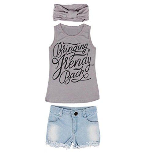 3PCS Toddler Kids Baby Girls Outfits Clothes Vest Tank Top+Denim Short Pants Set