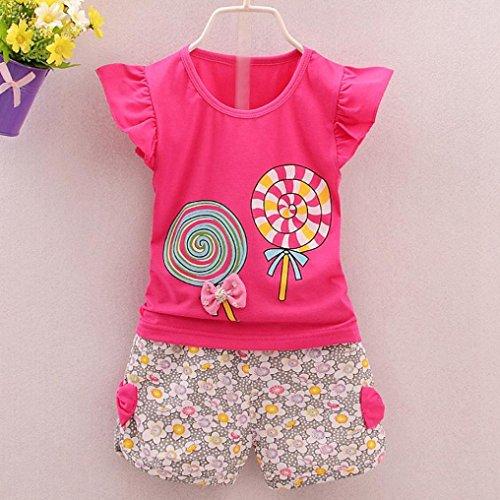 e0f4d413ace32 YANG-YI HOT 2PCS Summer Outfits Set Toddler Kids Baby Girls Sleeveless  Lolly T-Shirt Tops+Short Pants (Hot Pink, 110cm3-4T) Photo 1