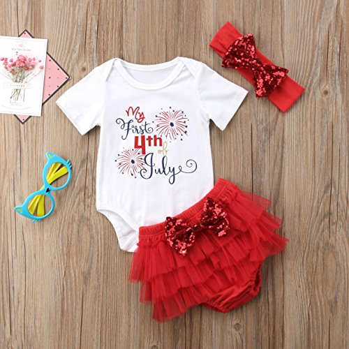 ❤️Rolayllove❤️ 4th of July!!!Baby Girl Outfits Patriotic Star Stripe Letter Romper Bow Shorts Pants Clothes