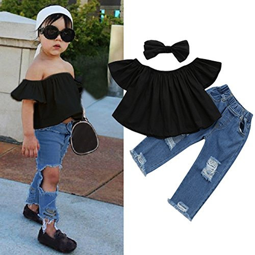 Striped Pants 2Pcs Set Outfits Clothes 1-4T Lurryly 2018 Toddler Baby Kids Girls Off Shoulder Tops