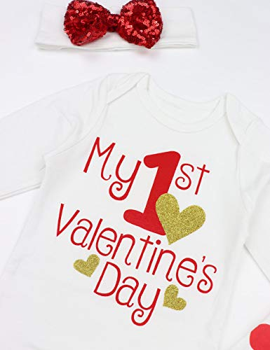 NWT Bon Bebe Baby Girl Gold Heart White Bodysuit Pants Bib Valentines Outfit Set
