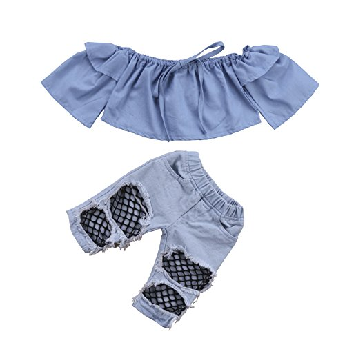 Toddler Kids Girl Denim Skirt Set with Rose Flower Letter Print T-Shirt Tops 2pcs Outfits sweetyhouse